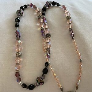 Glass Bead Necklace Pink Purple Black 26 Inches